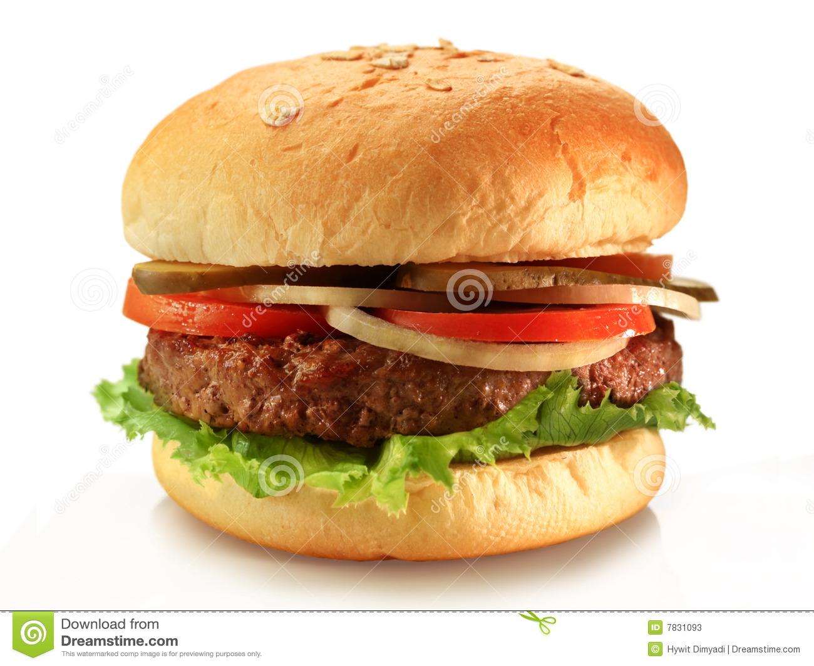 Juicy grilled hamburger on healthy rye buns.