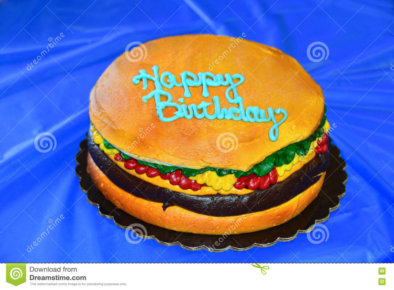 Superb Hamburger Birthday Cake Stock Photo Image Of Relish 73047492 Funny Birthday Cards Online Aeocydamsfinfo