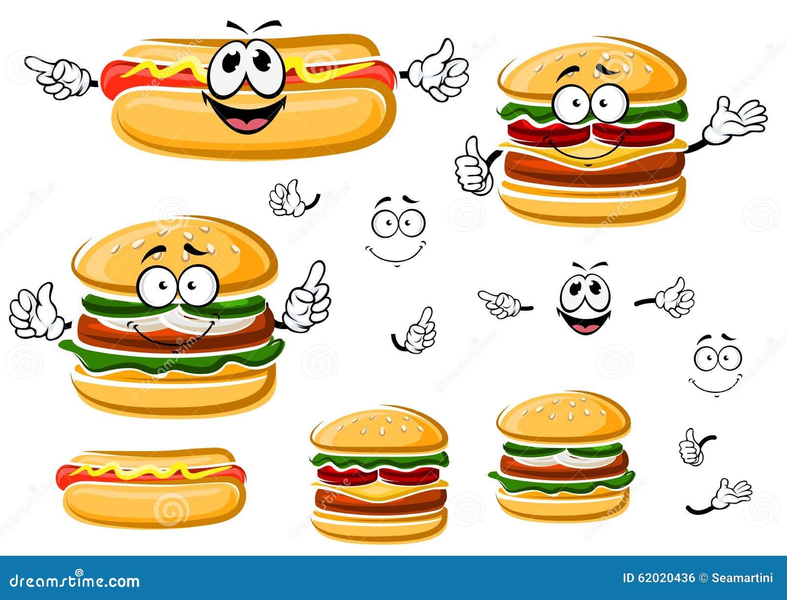 Hamburger, cachorro quente e cheeseburger felizes