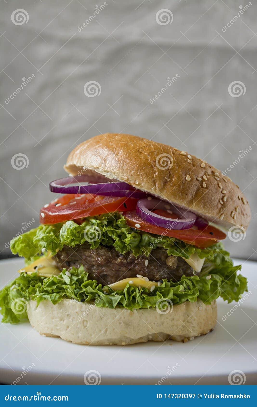 Hamburger casalingo fresco su un piatto bianco Alimento non sano