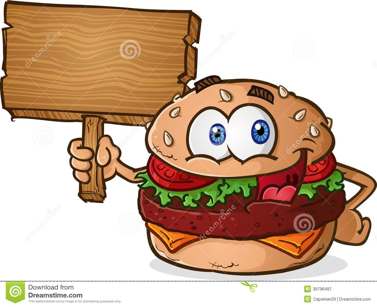 Hamburger Cheeseburger Cartoon Character Holding A Wooden Sign Stock ...