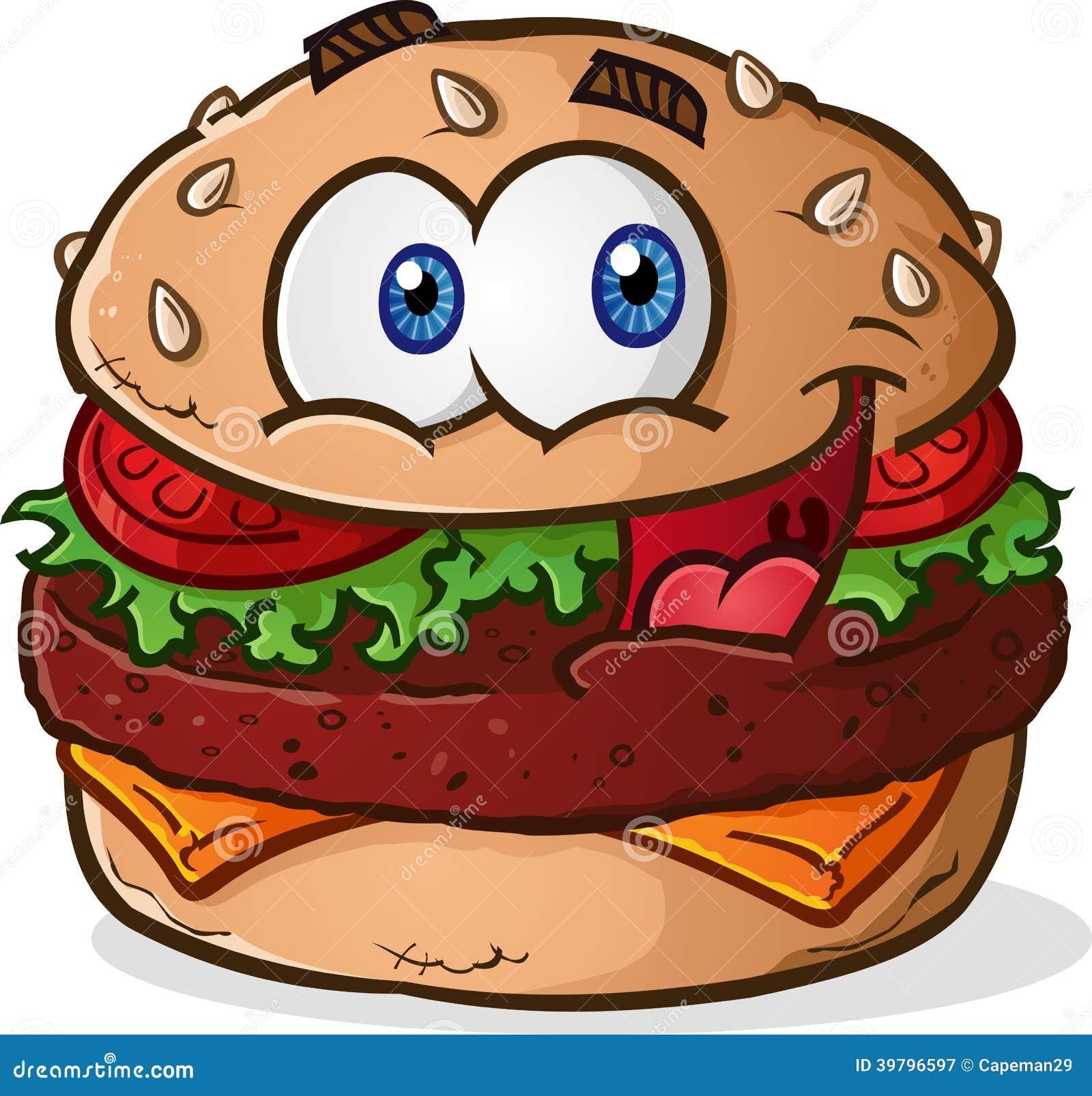 simple hamburger cheeseburger cartoon character with a big smiling ...