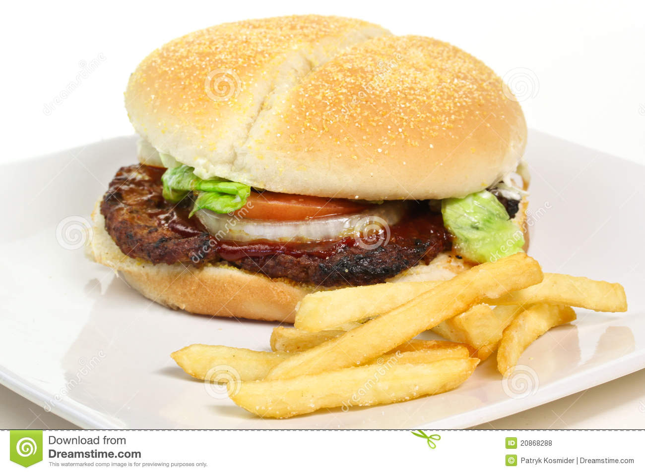Hamburger And Chips Royalty Free Stock Photos - Image: 20868288