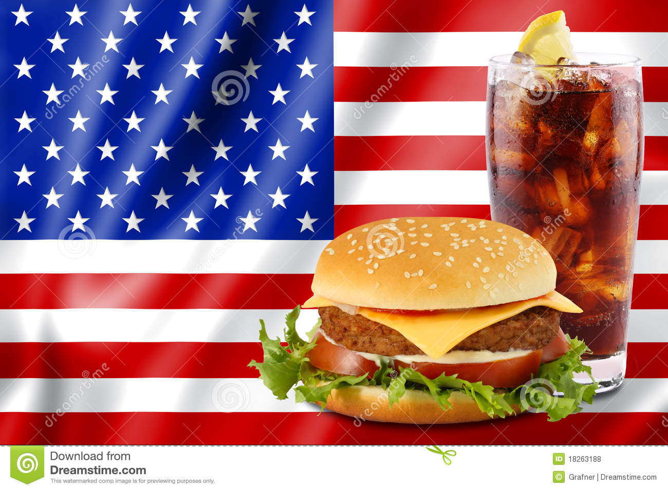 Hamburger And Cola With Usa Flag Royalty Free Stock