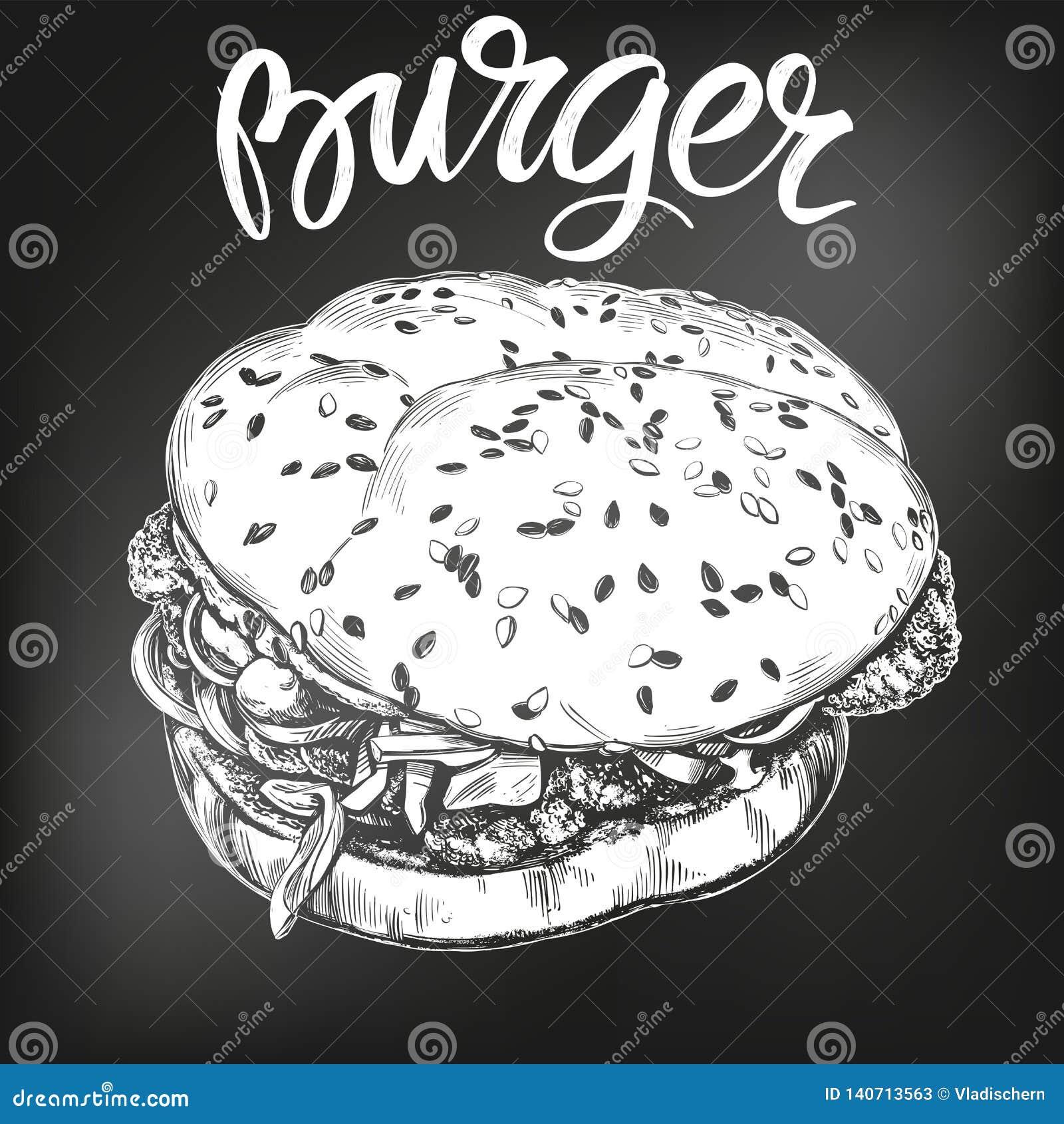 Hamburger, croquis tiré par la main d illustration de vecteur d hamburger menu de craie Rétro type