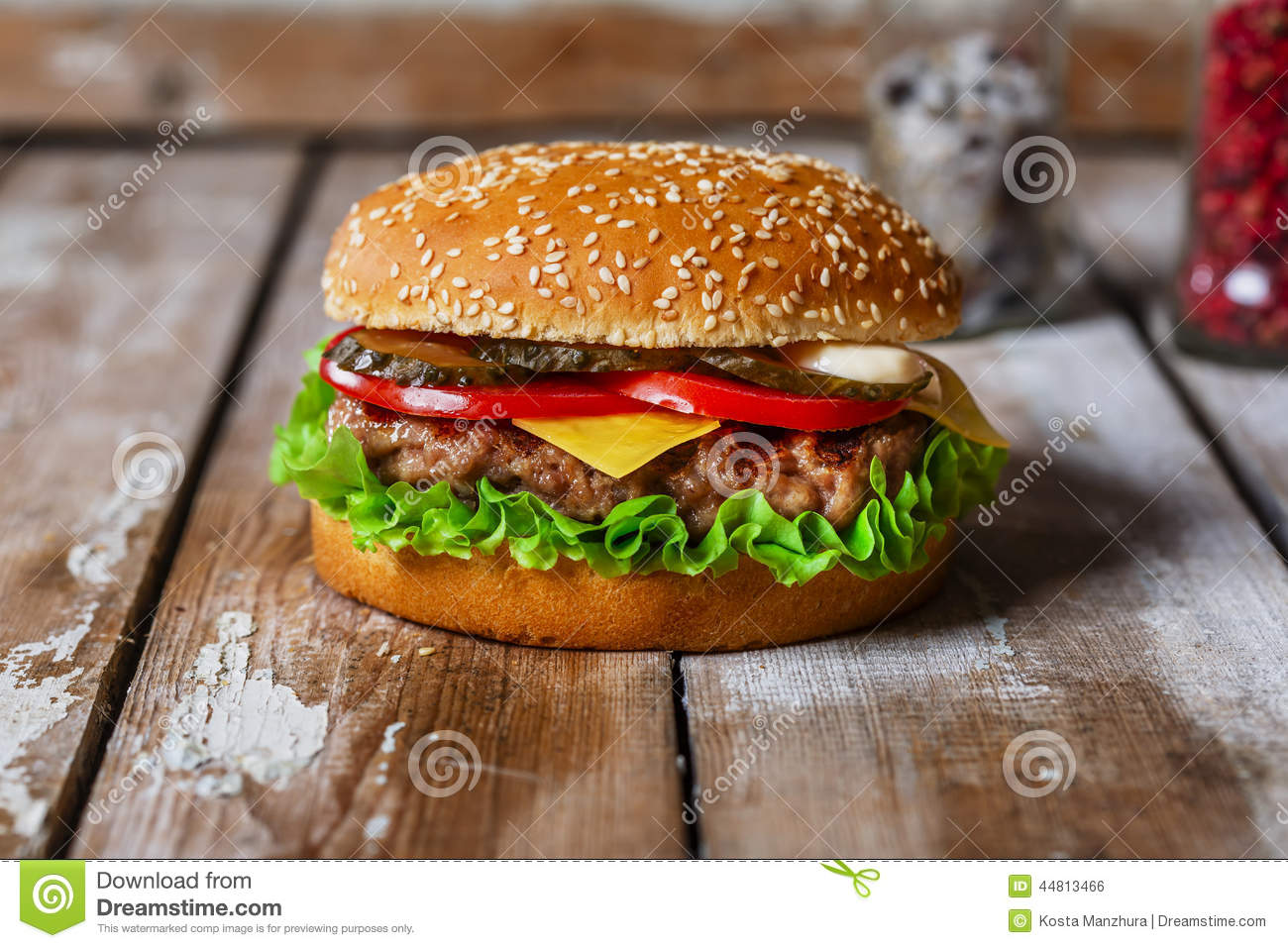 Hamburger with cutlet grilled