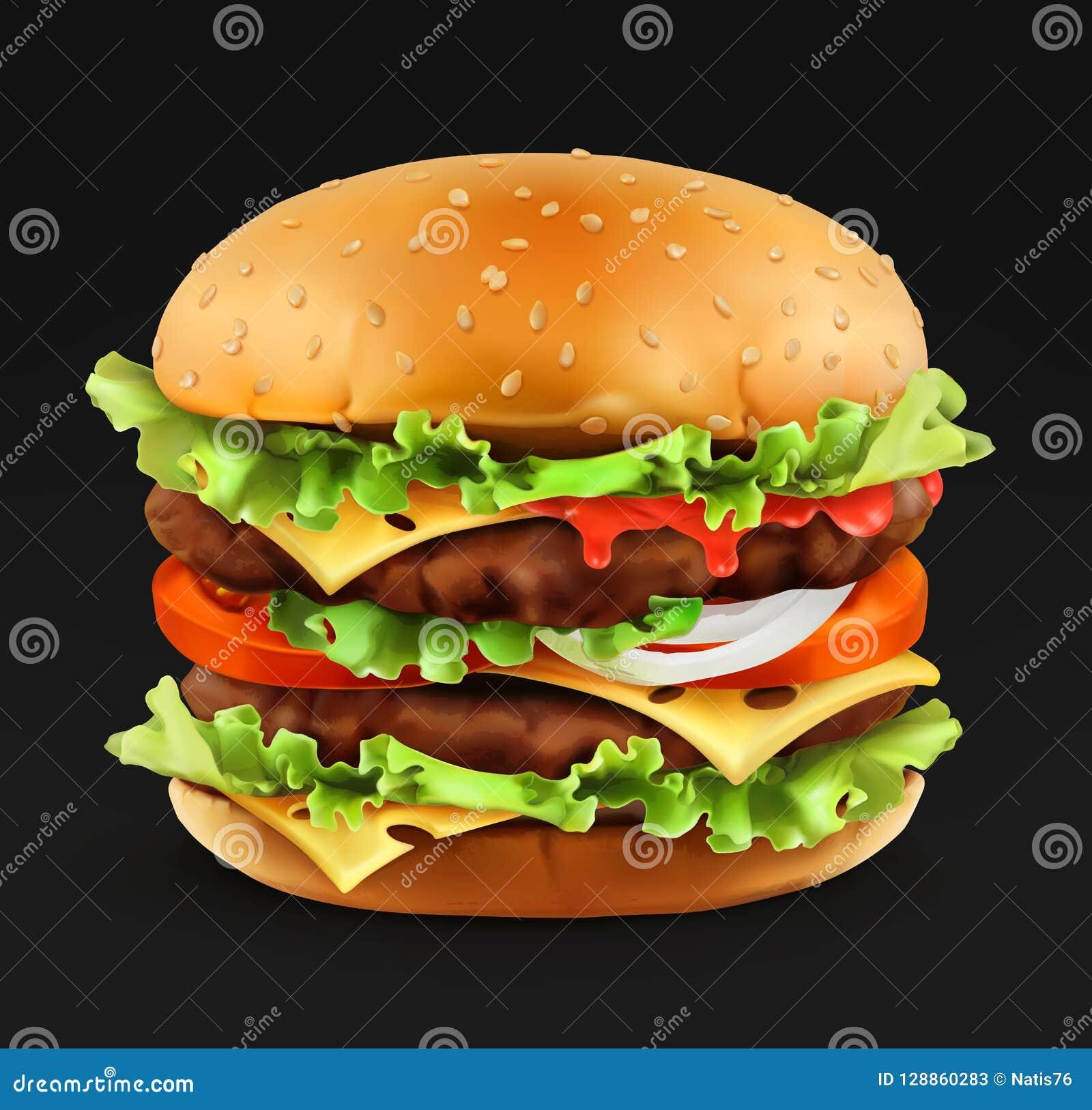 Hamburger, 3d realistyczna wektorowa ikona