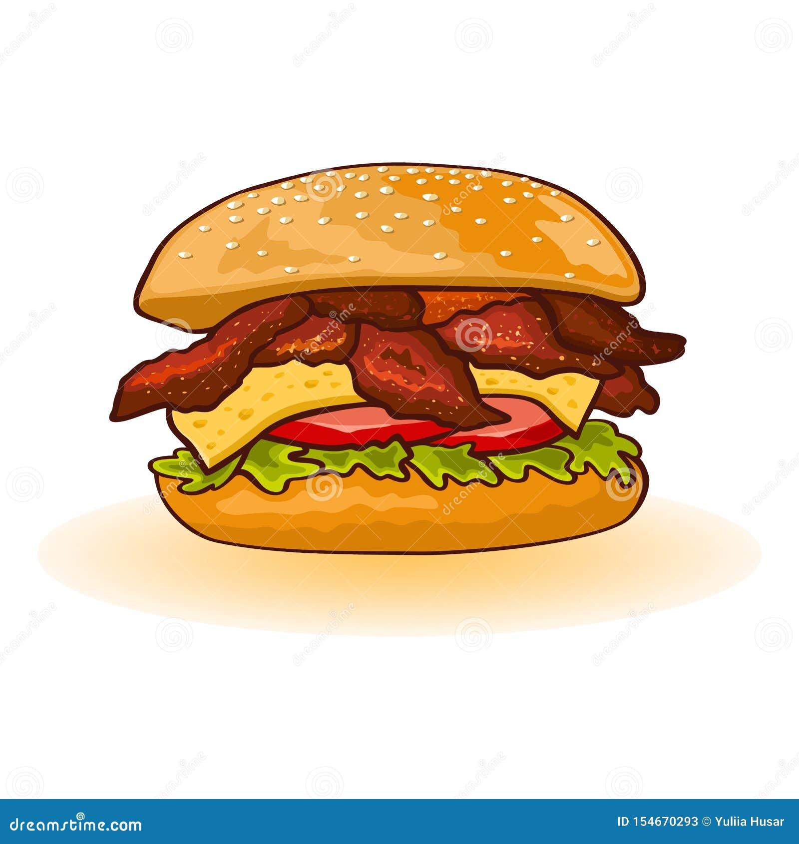 Hamburger de poulet ou de lard comprenant des tranches de viande, fromage, laitue, tomate, sauce en petit pain grillé frais