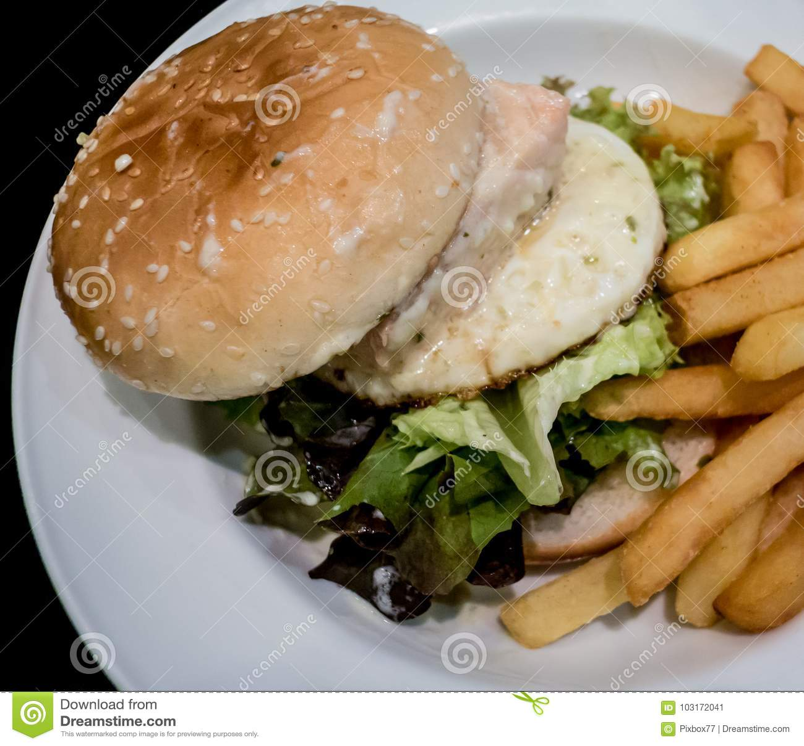 Hamburger with deep fried potato