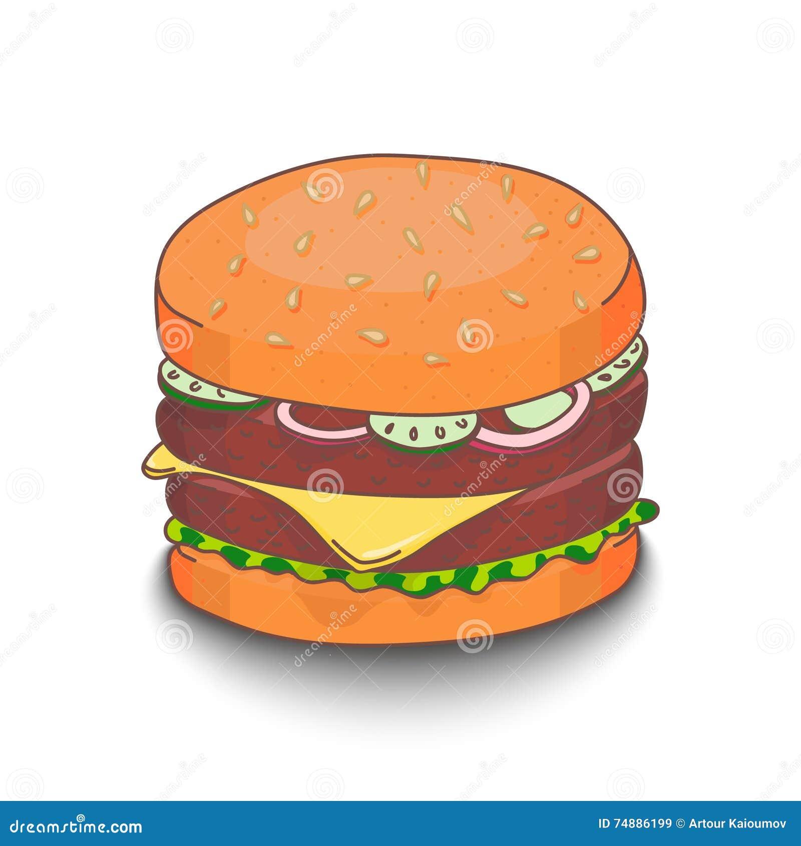 Hamburger desenhado à mão bonito do estilo dos desenhos animados com sombra no fundo branco