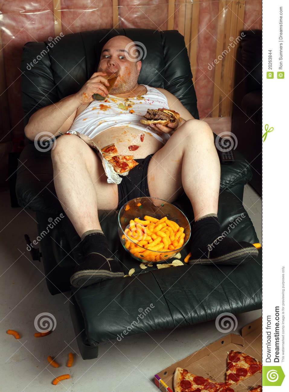 Hamburger Eating Lazy Couch Potato Stock Photo Image