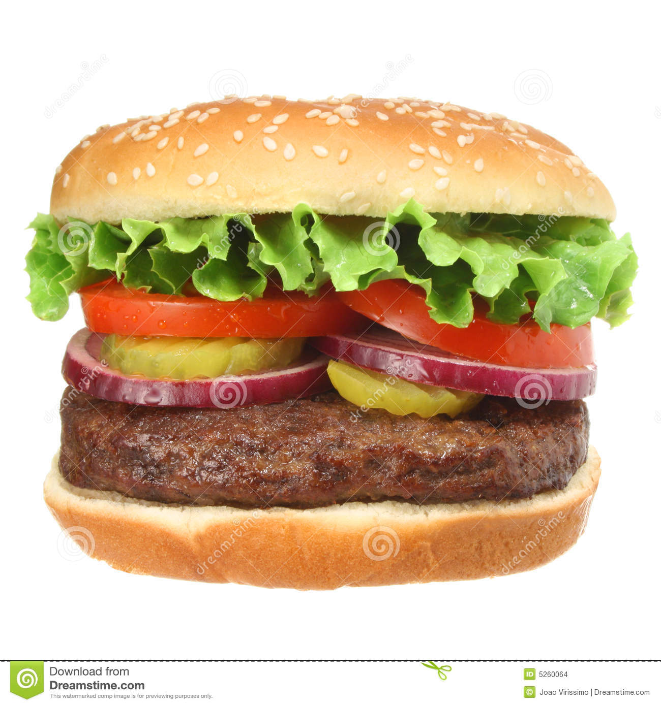 Hamburger with fixings isolated on white
