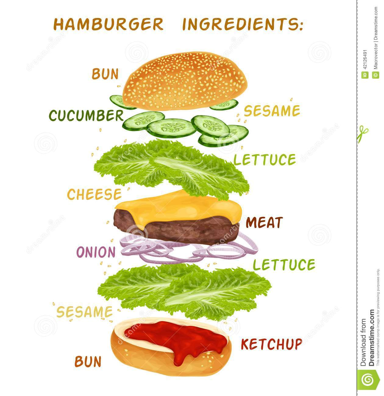 ... ingredients set of bun cucumber meat ketchup vector illustration
