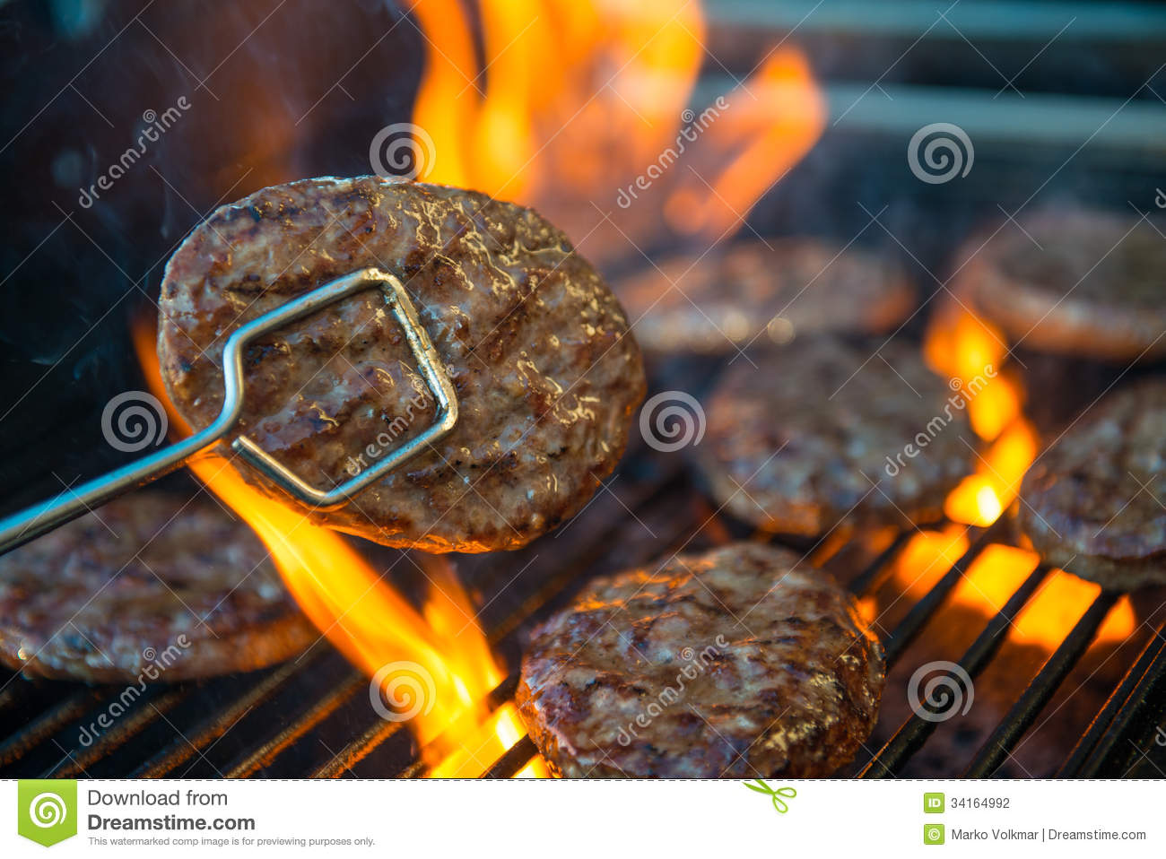 Hamburger meat on barbecue