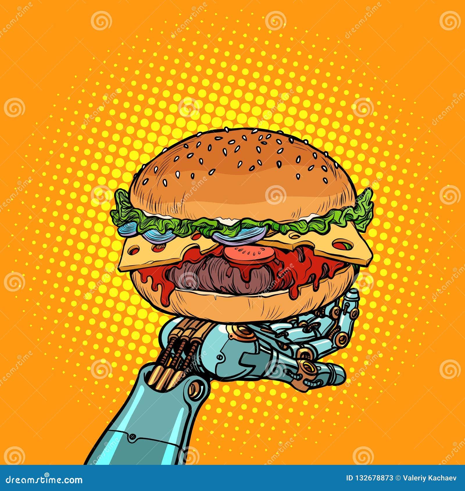 Hamburger na robot ręce