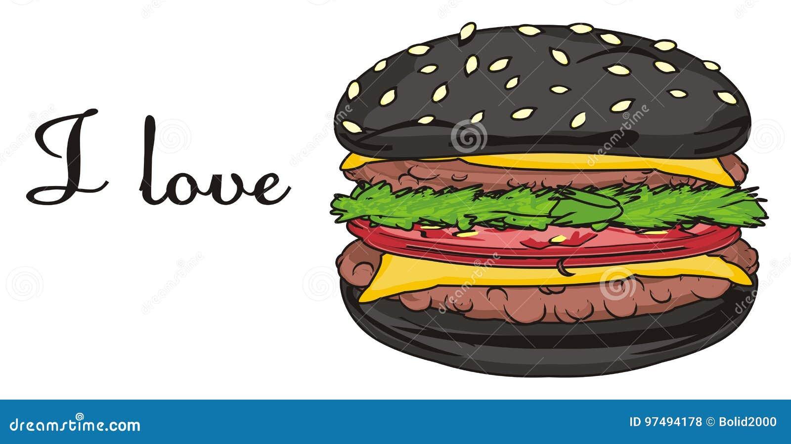 Hamburger nero con le lettere