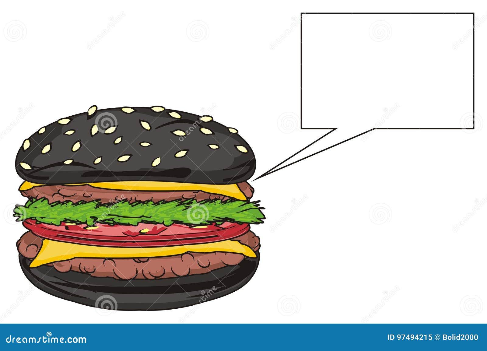Hamburger nero e segno pulito