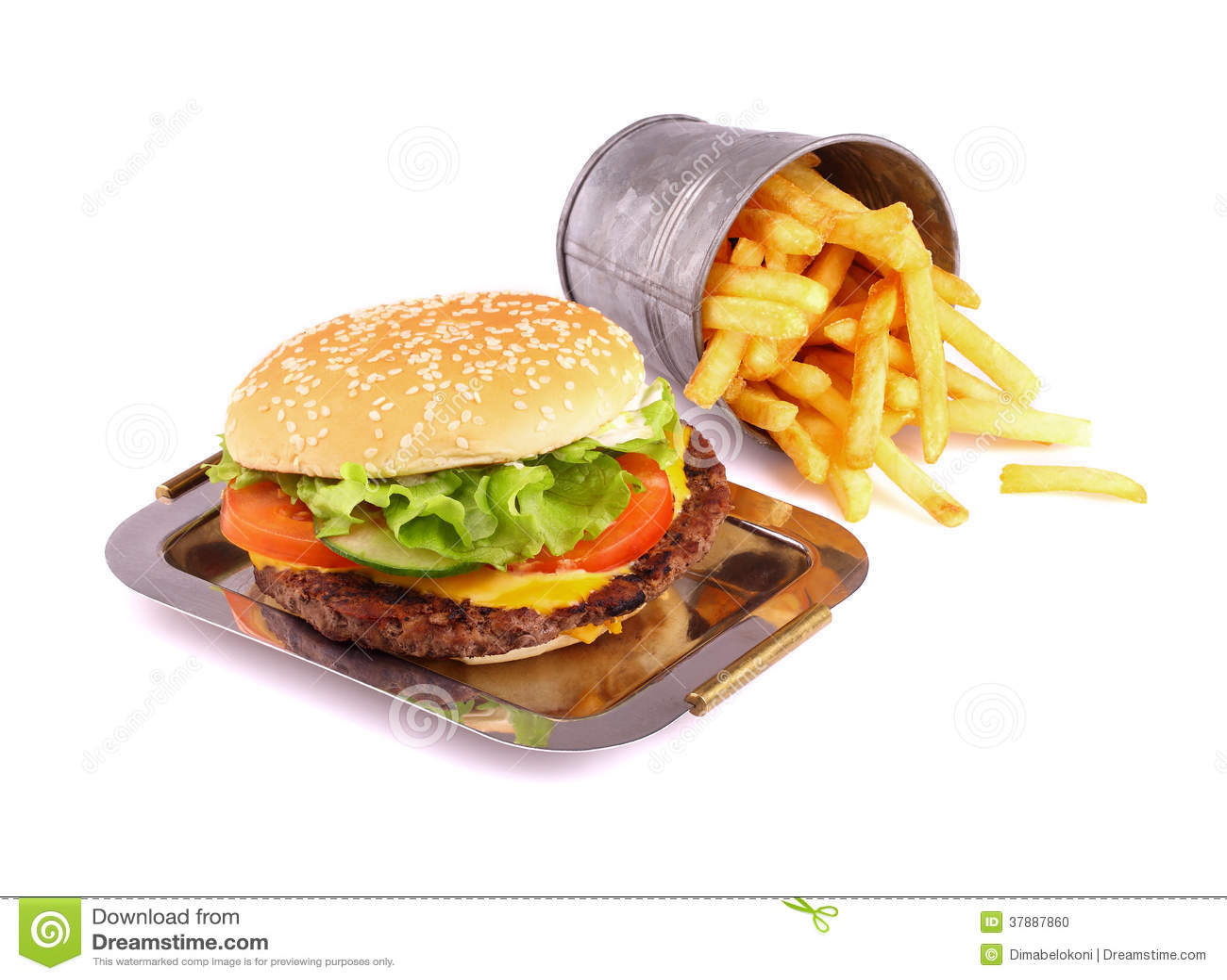 Hamburger op wit