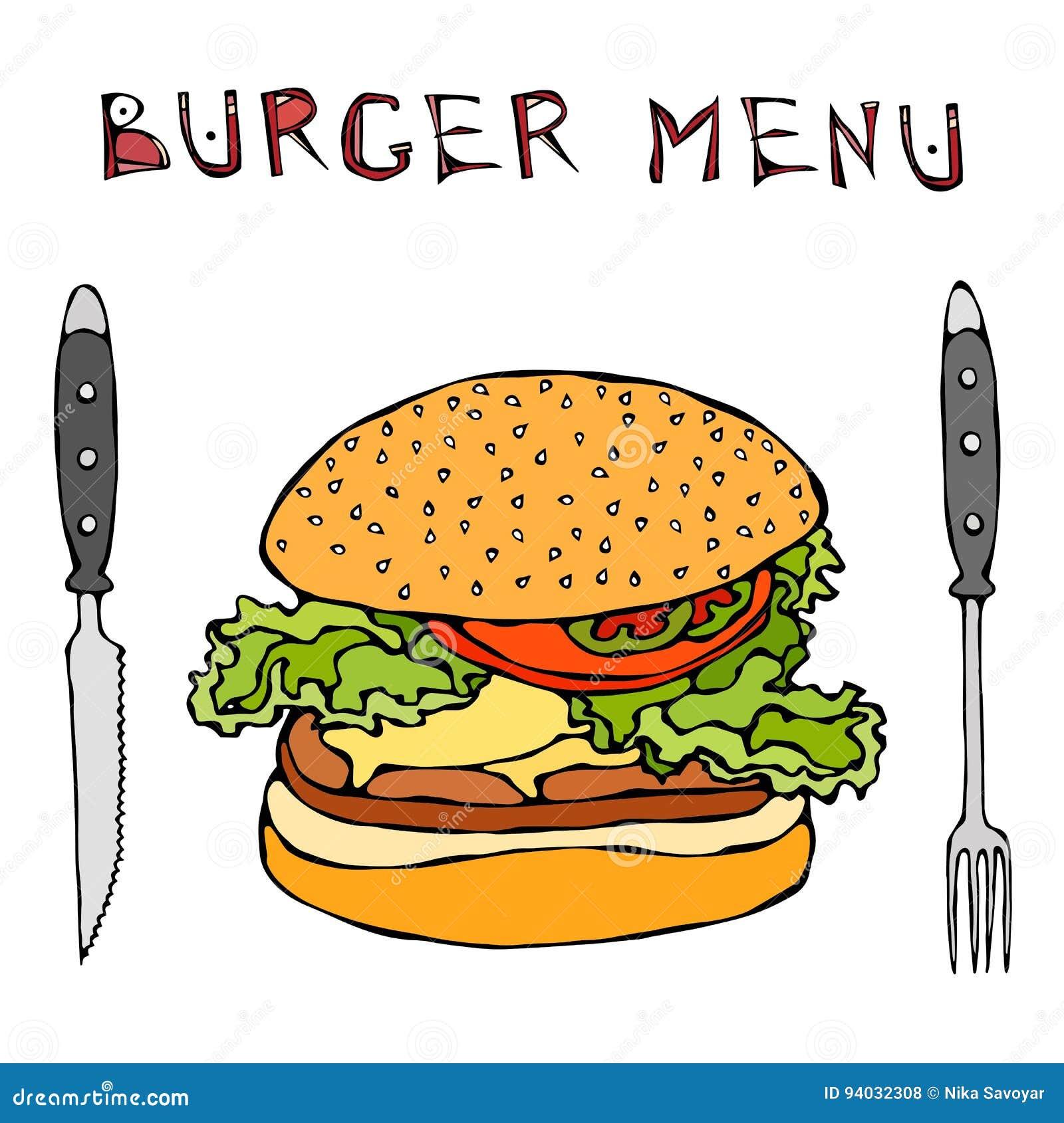Hamburger ou cheeseburger grande Rotulação, faca e forquilha do menu do hamburguer Isolado em um fundo branco Chiqueiro realístic