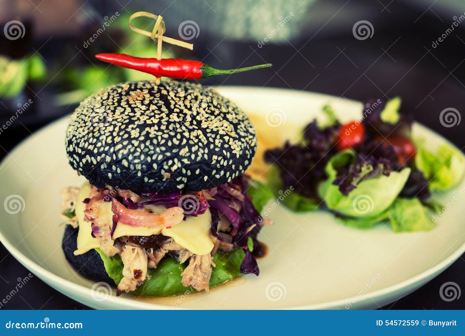 Hamburger Pork Made From Bread Breeze Yacht Mixing Bamboo Charc - Black hamburger