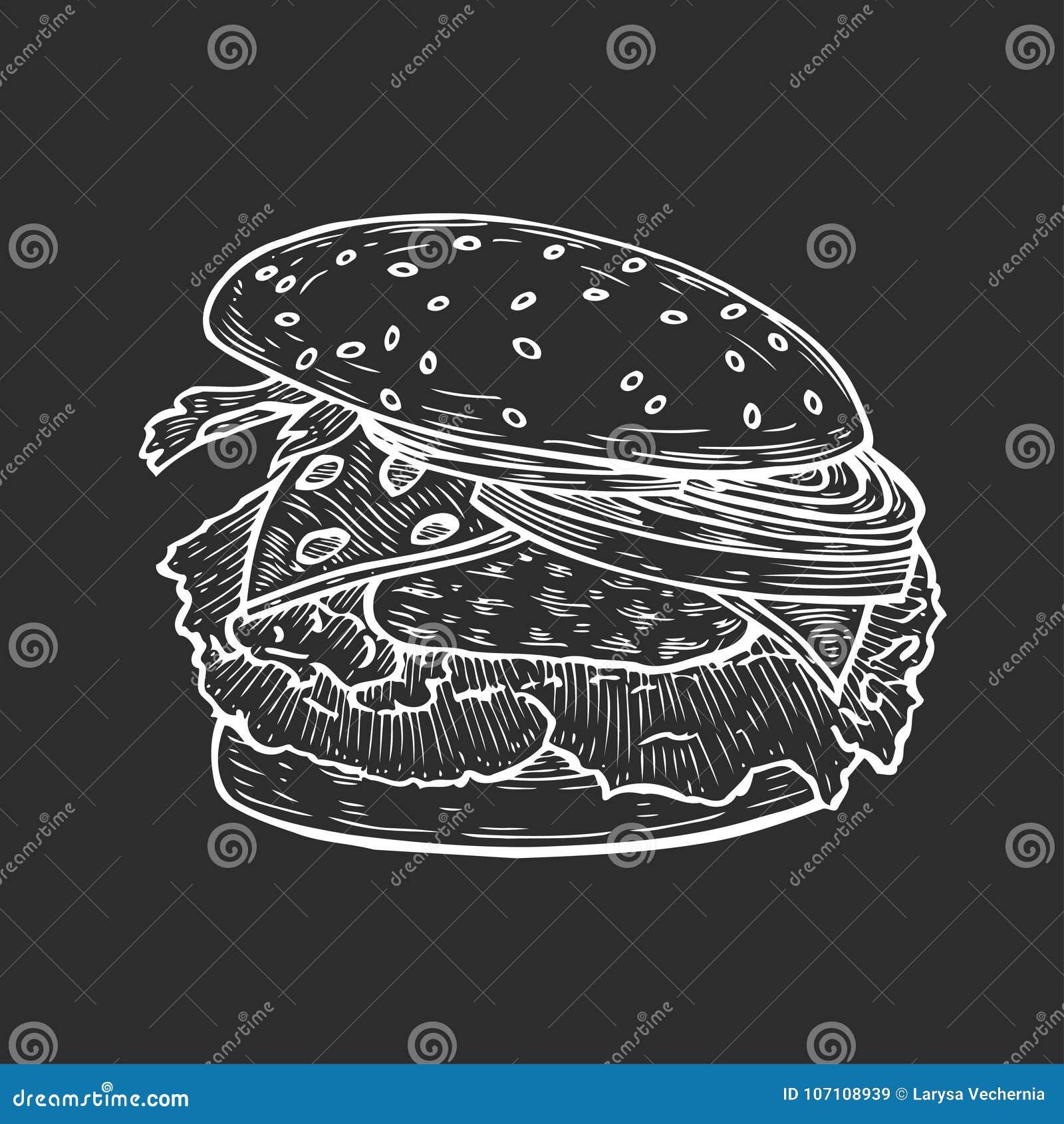 Hamburger ręka rysująca