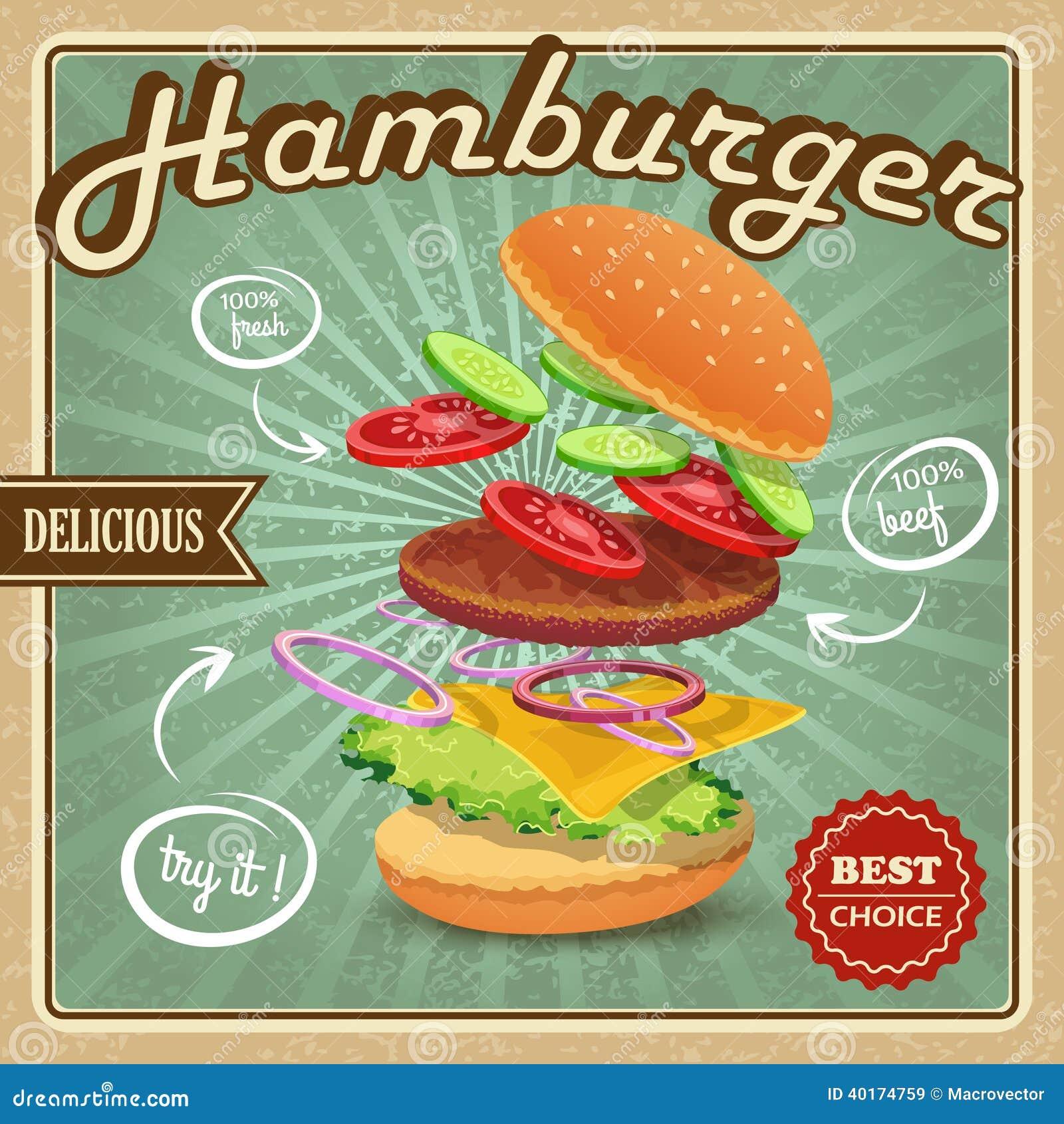 hamburger retro poster stock vector   image 40174759