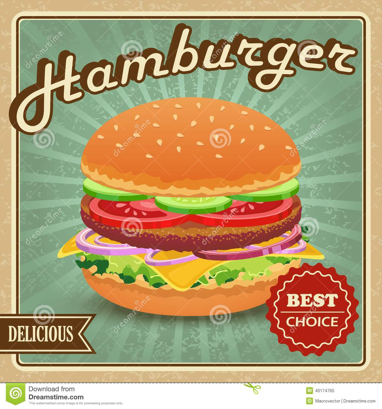 Delicious best choice retro hamburger food poster vector illustration.
