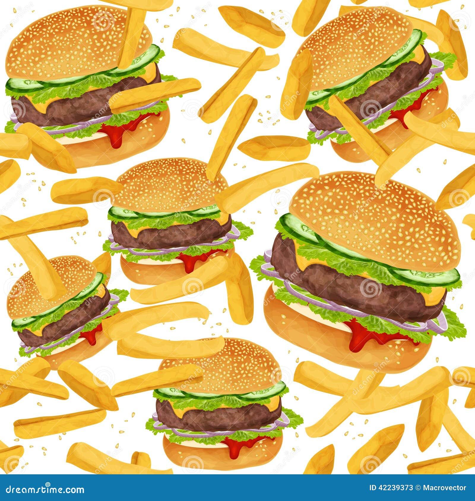 hamburger seamless pattern stock vector image 42239373