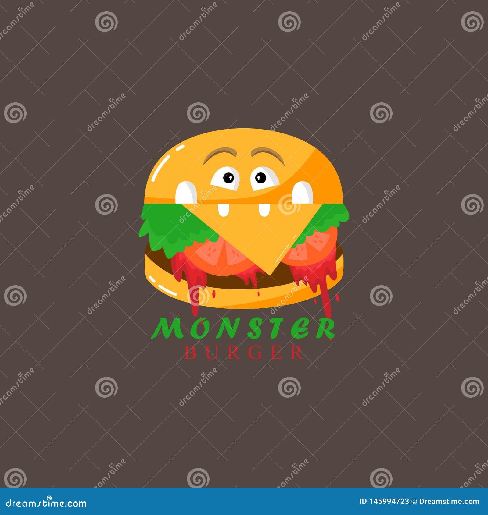 Hamburger - un monstre Illustration pour imprimer sur un T-shirt