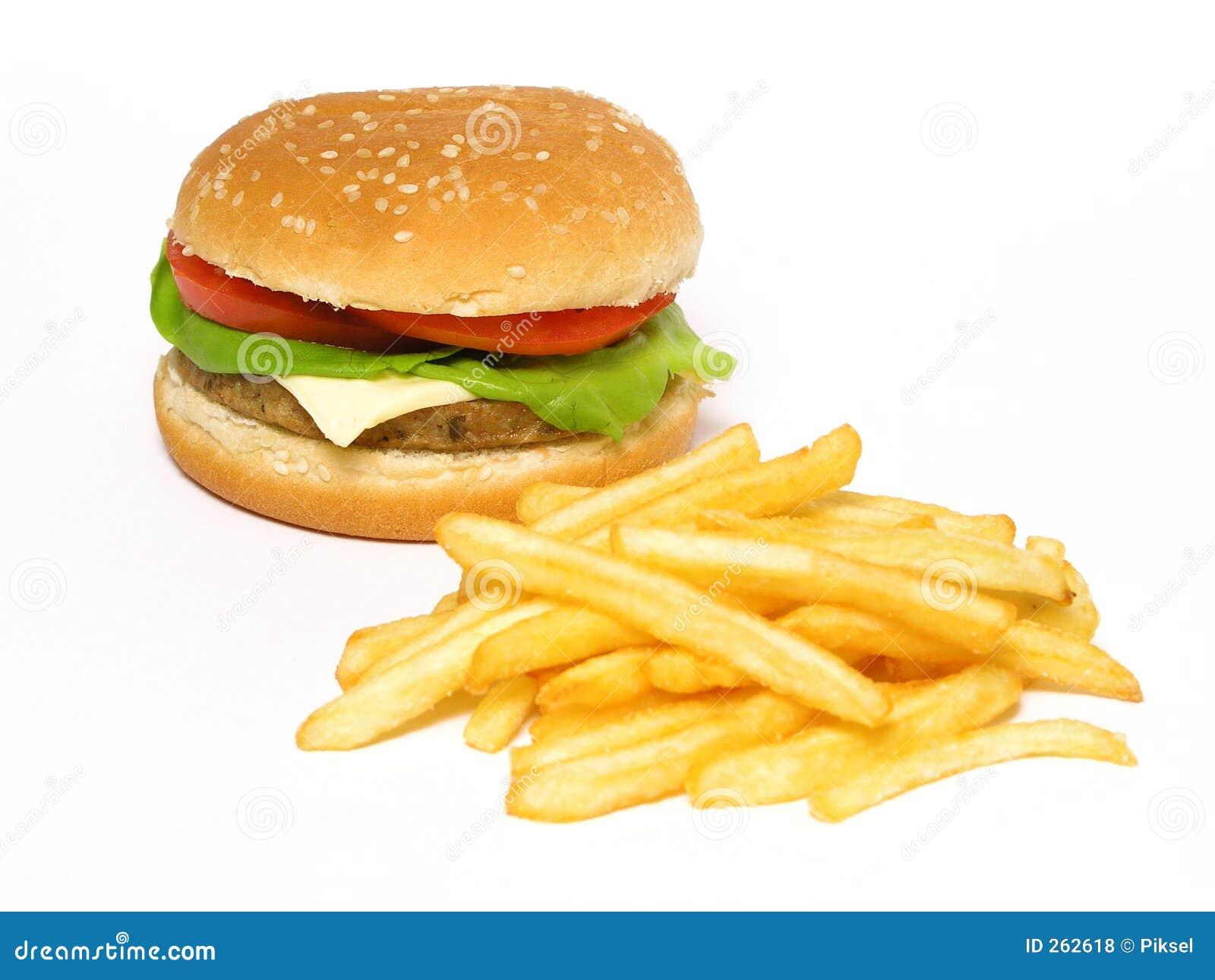 Hamburger und Pommes-Frites