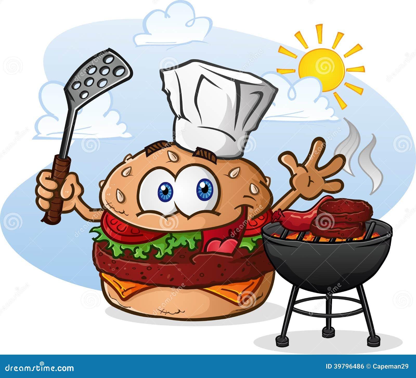 Hamburgeru Cheeseburger postać z kreskówki opieczenie z szefa kuchni kapeluszem