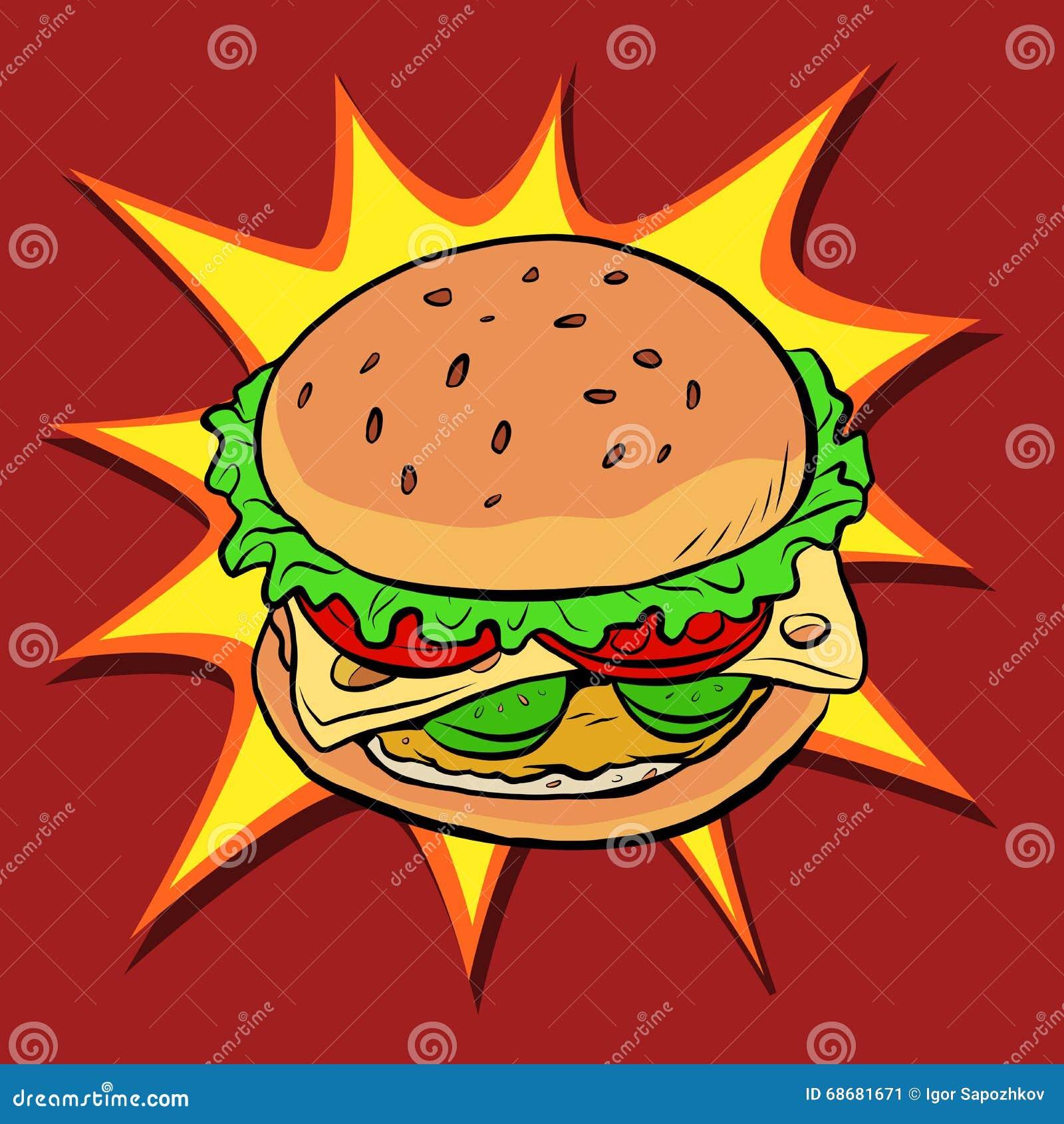 Hamburgeru fasta food wystrzału retro sztuka