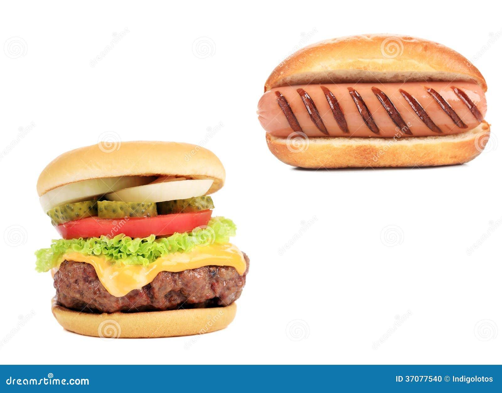Download Hamburgeru I Hot Dog Kolaż. Zdjęcie Stock - Obraz złożonej z zbliżenie, amerykanin: 37077540
