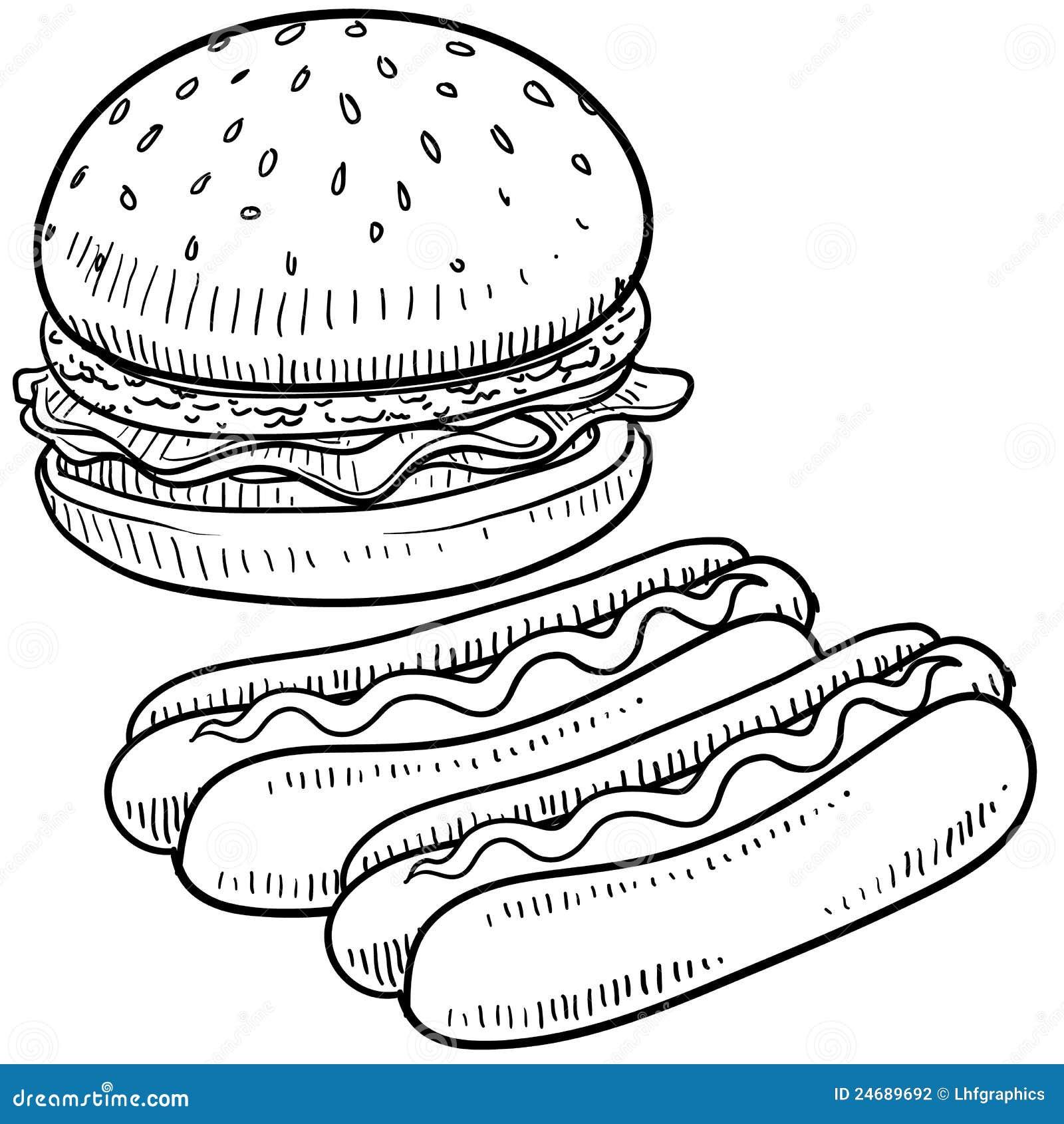 Hamburgeru i hot dog nakreślenie
