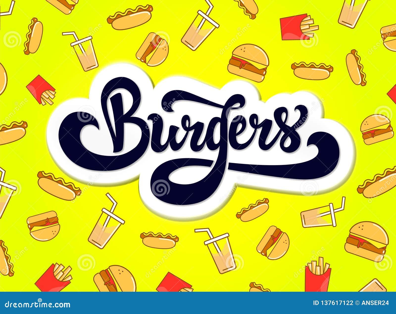 Hamburgeru logo projekt Ręka rysujący logotyp
