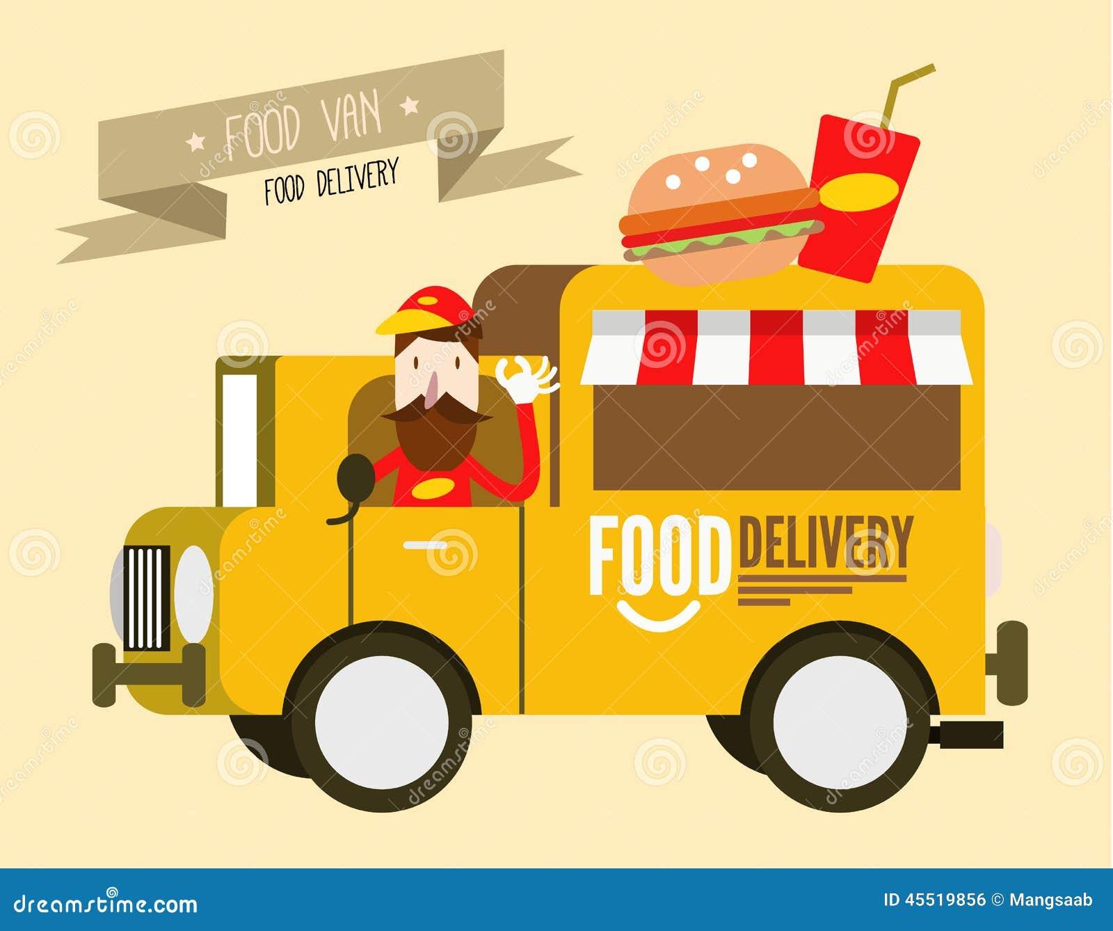 Hamburgeru samochód dostawczy fast food dostawa