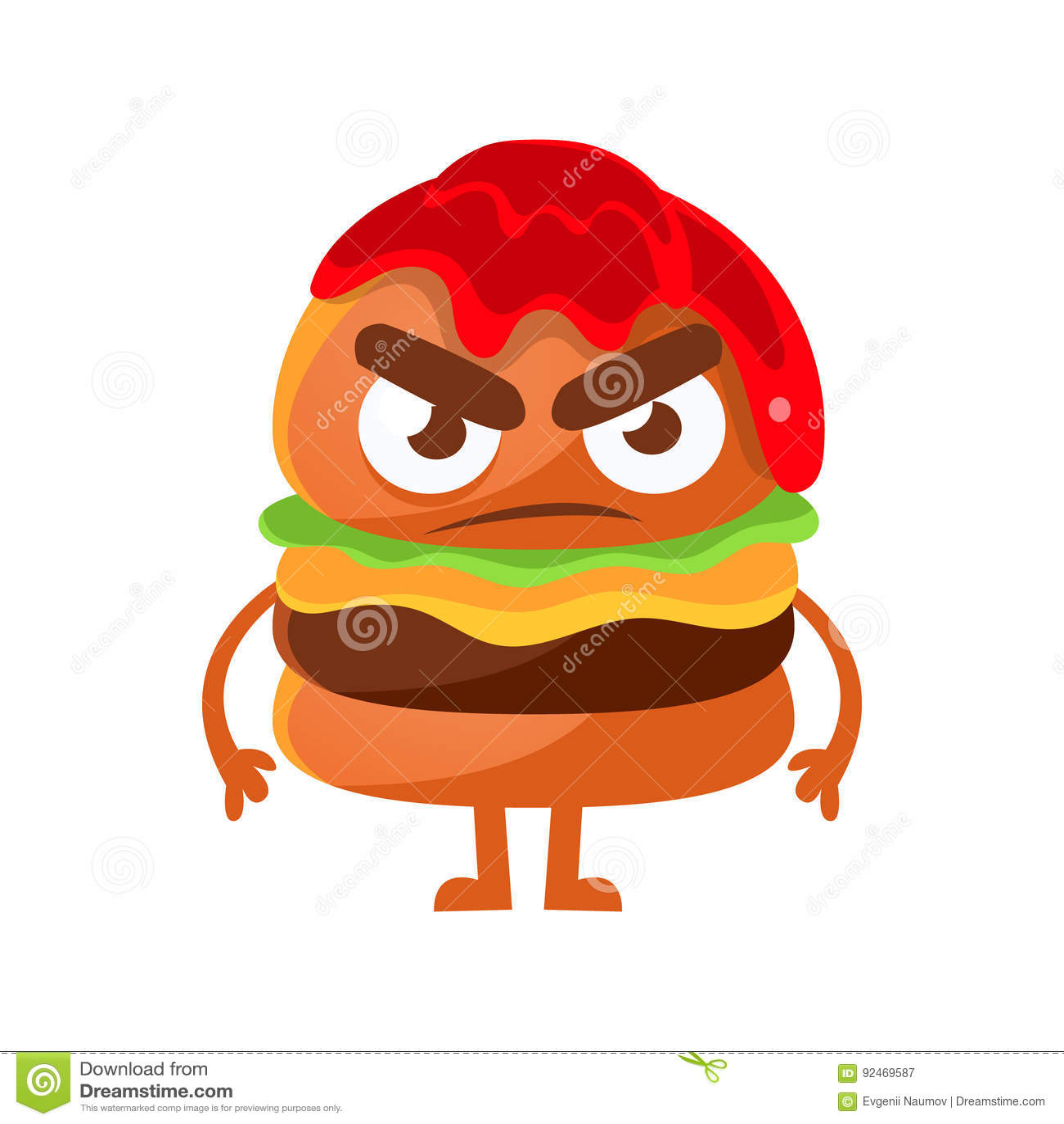 Hamburguer irritado com ketchup Ilustração bonito do vetor do caráter do emoji do fast food dos desenhos animados