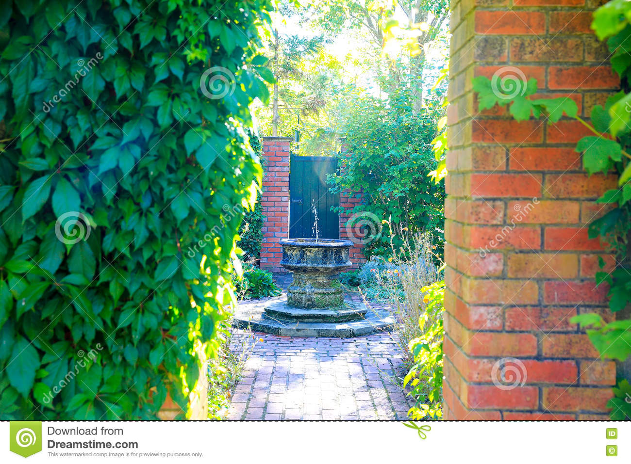 HAMILTON, NZ - FEBRUARY 25, 2015: Fountain, English Flower Garden, Hamilton Gardens
