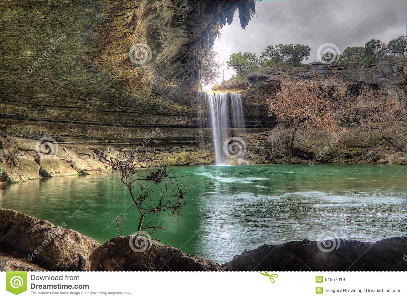 Hamilton pool cloudy day texas stock photo image 51557019 for Pool design hamilton