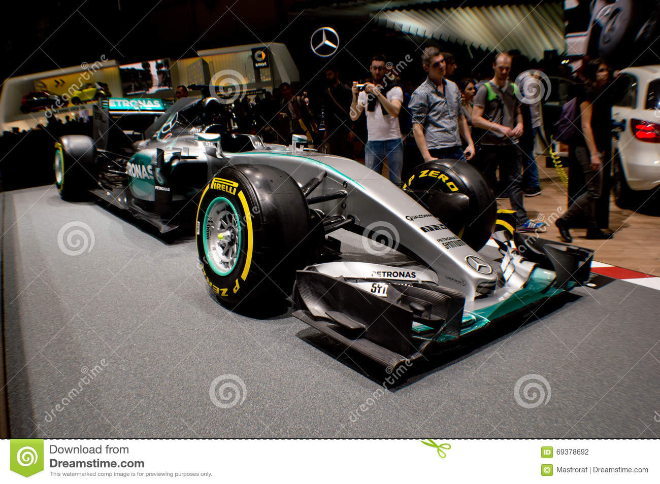 hamilton's mercedes at geneva autoexpo 2016 editorial photography
