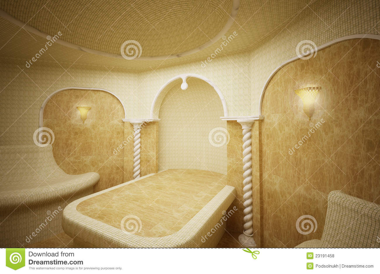 hammam turkish steam room 3 d stock illustration illustration of marble stone 23191458. Black Bedroom Furniture Sets. Home Design Ideas