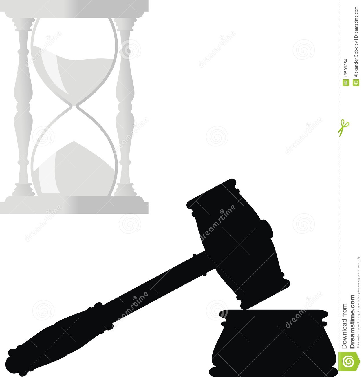 Hammer And Anvil Symbols Of Law Hourglass Stock Vector