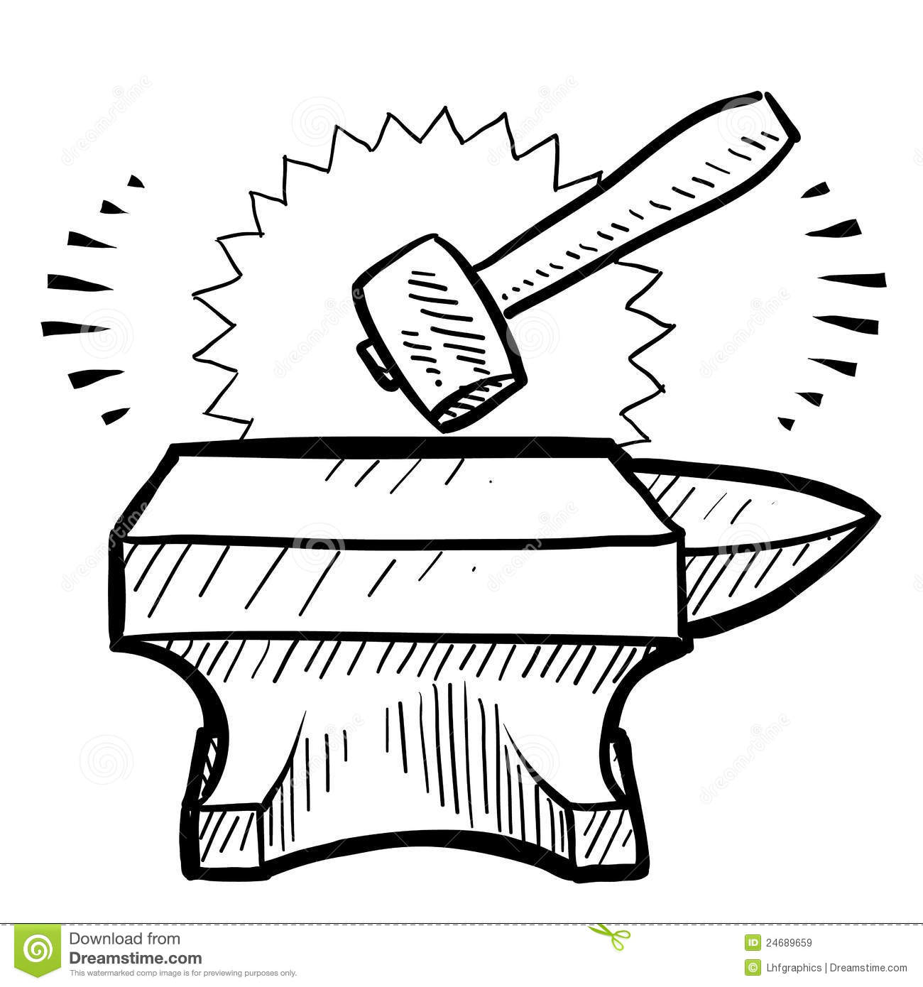 hammer and anvil vector stock vector image of