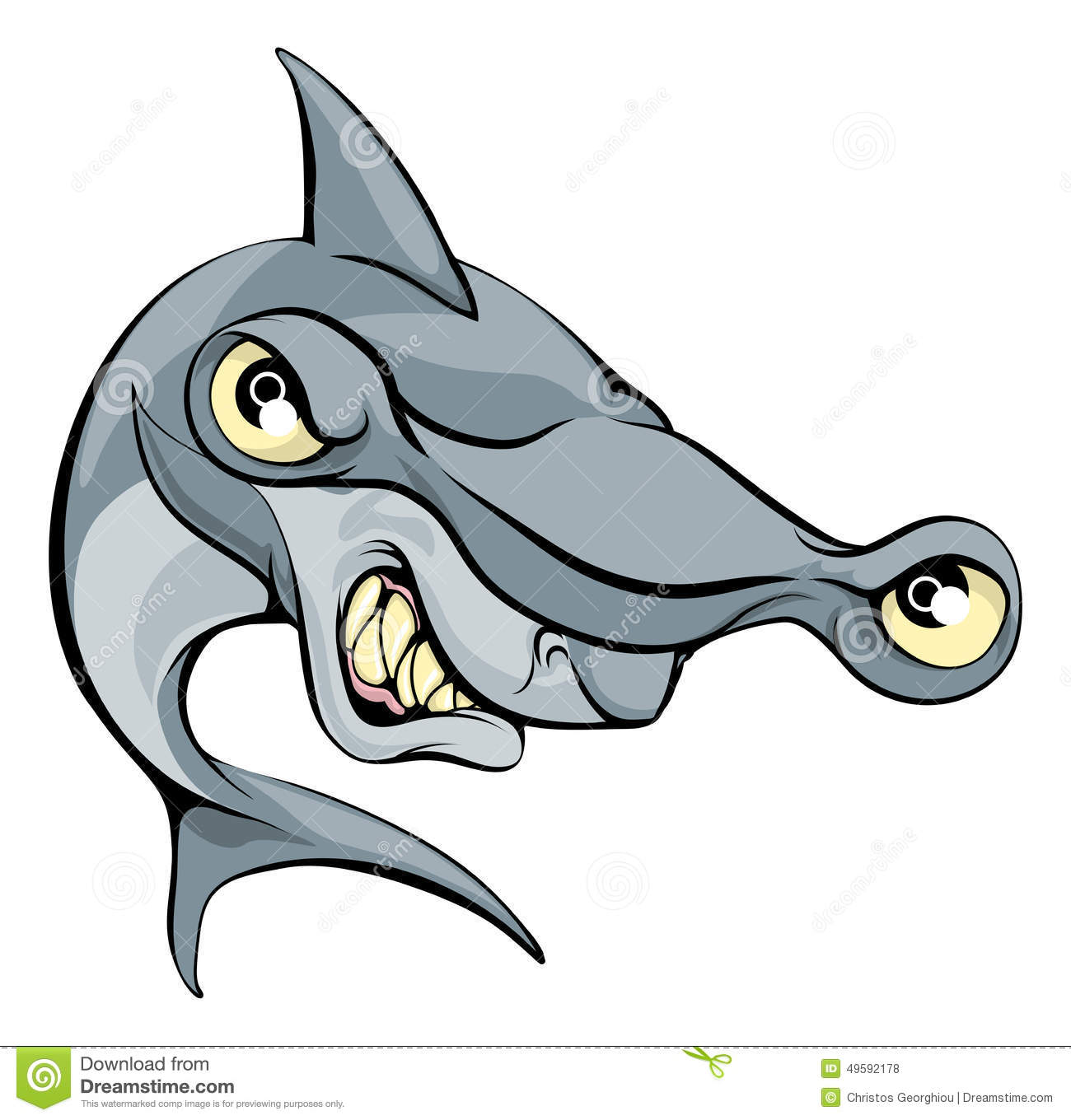 Hammer Head Shark Cartoon Stock Vector - Image: 49592178
