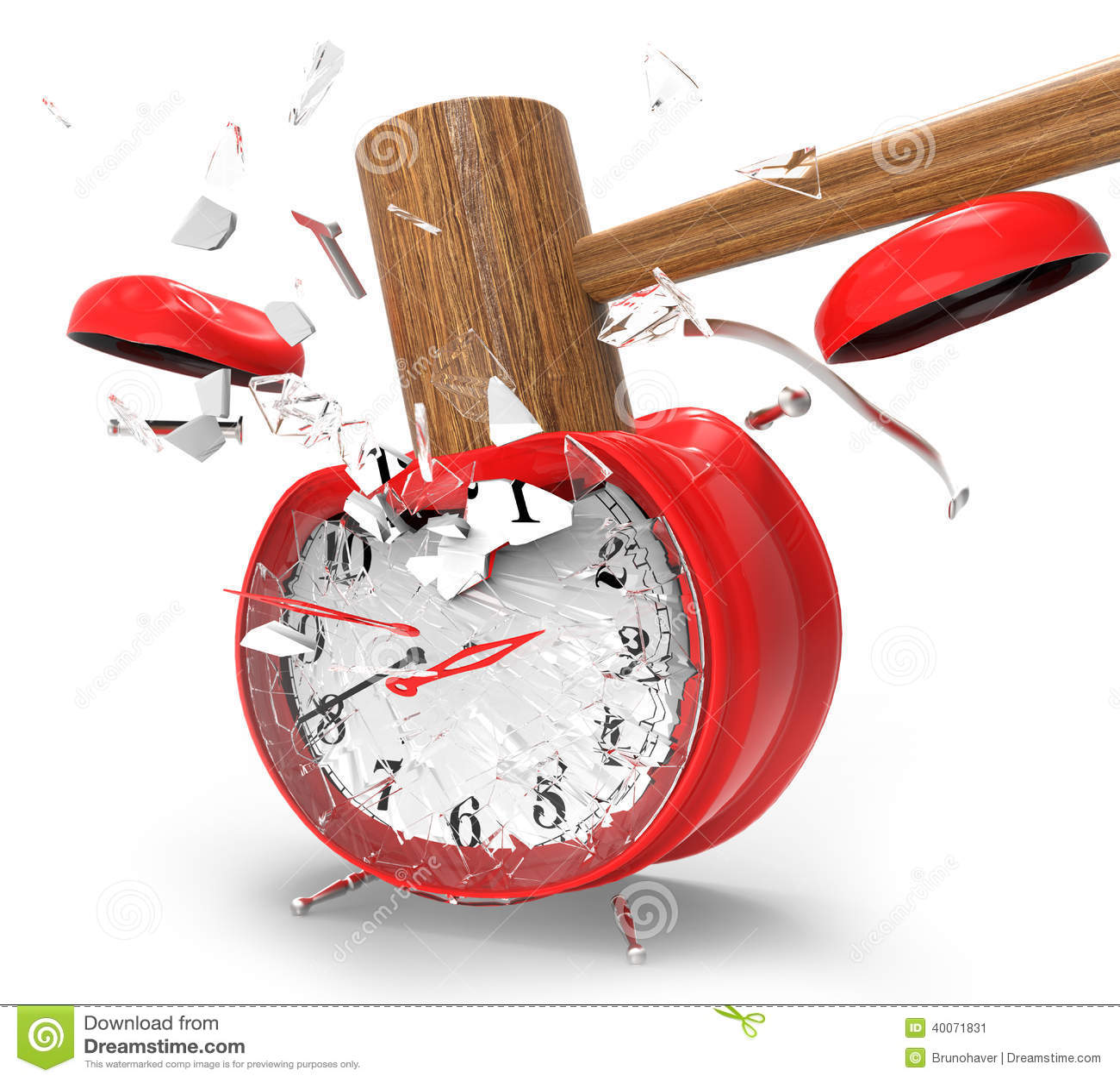 hammer-hitting-alarm-clock-white-backgro