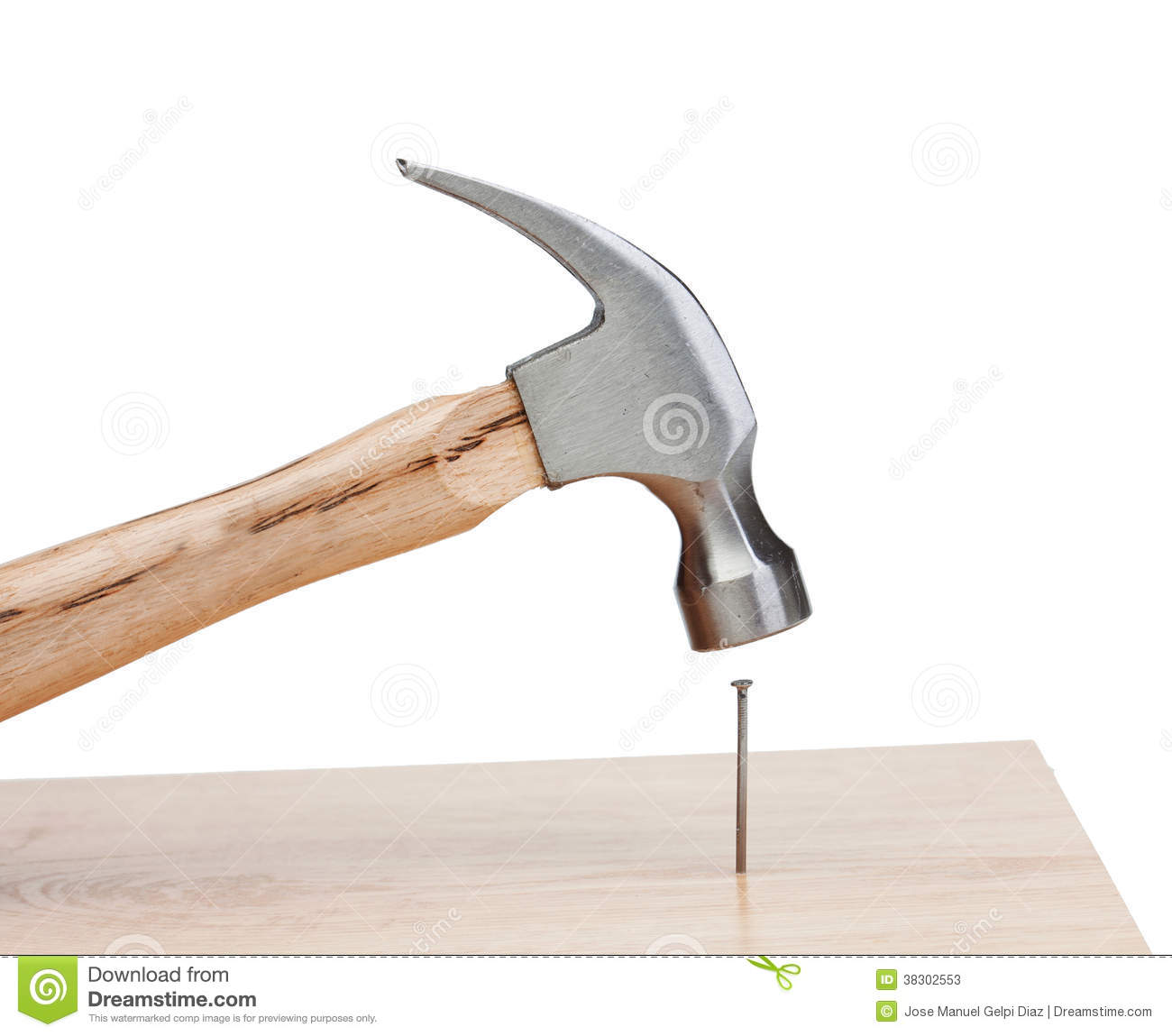 Hammer Hitting A Nail Into A Wood Stock Image Image Of Craft