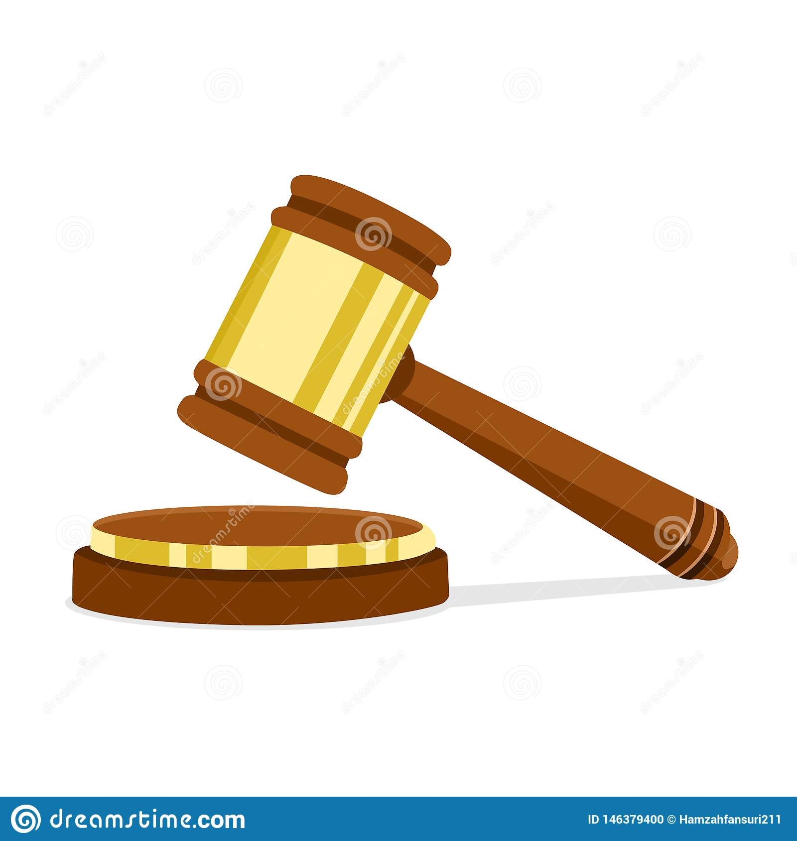 Vector illustration in flat design Wooden judge hammer of the chairman for adjudication of sentences and bills. Legal law and auct