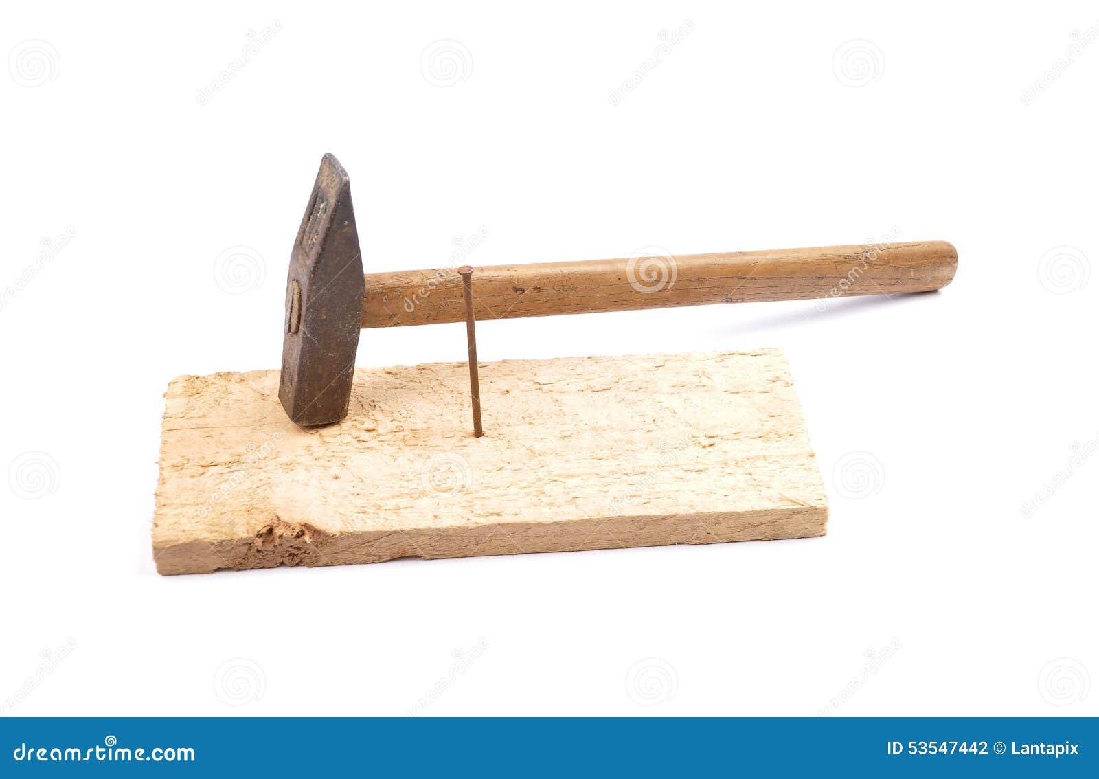 hammer mit nagel und brett stockfoto bild von antiquated 53547442. Black Bedroom Furniture Sets. Home Design Ideas