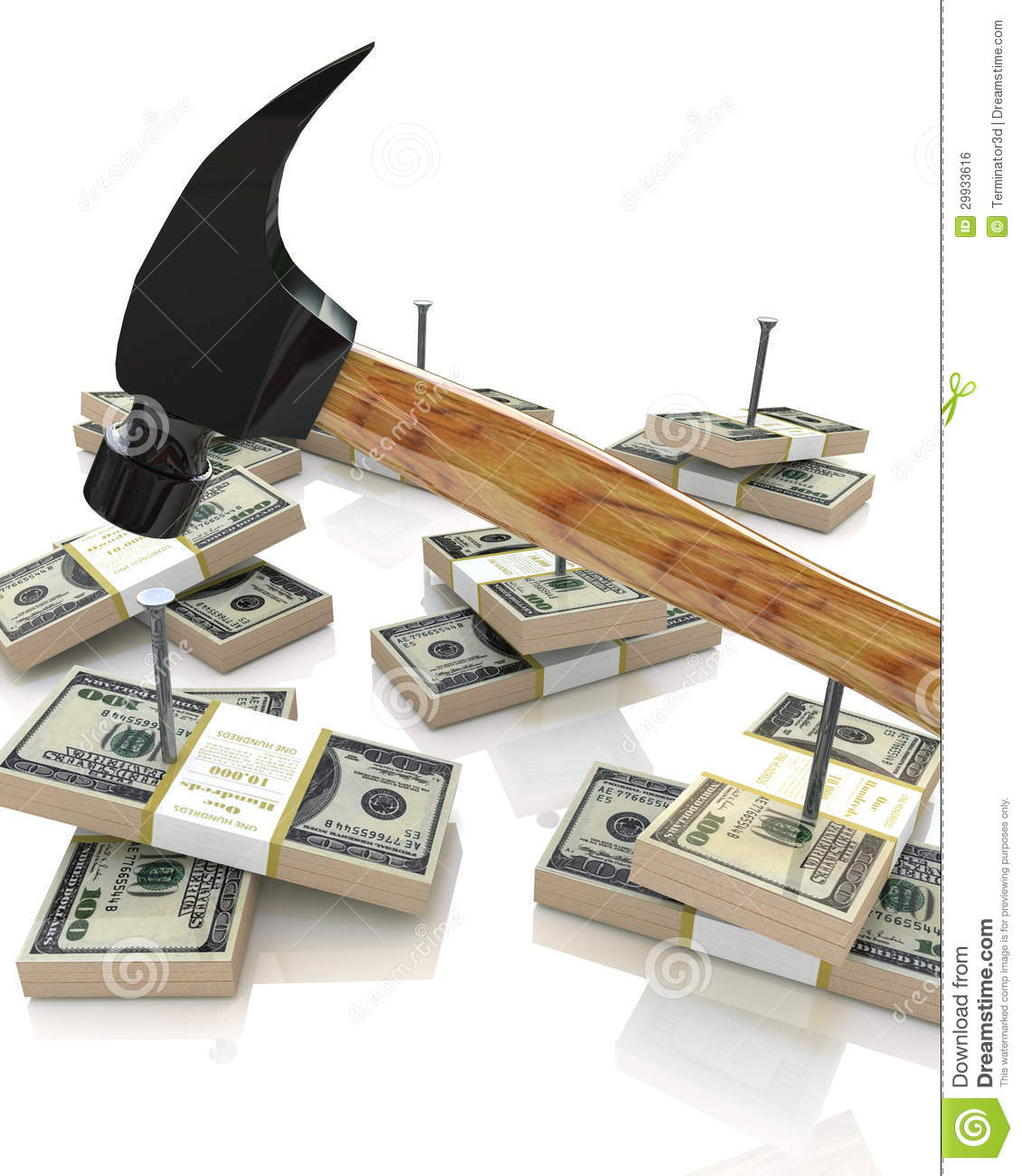 Hammer And Money Stock Illustration Image Of Improvement