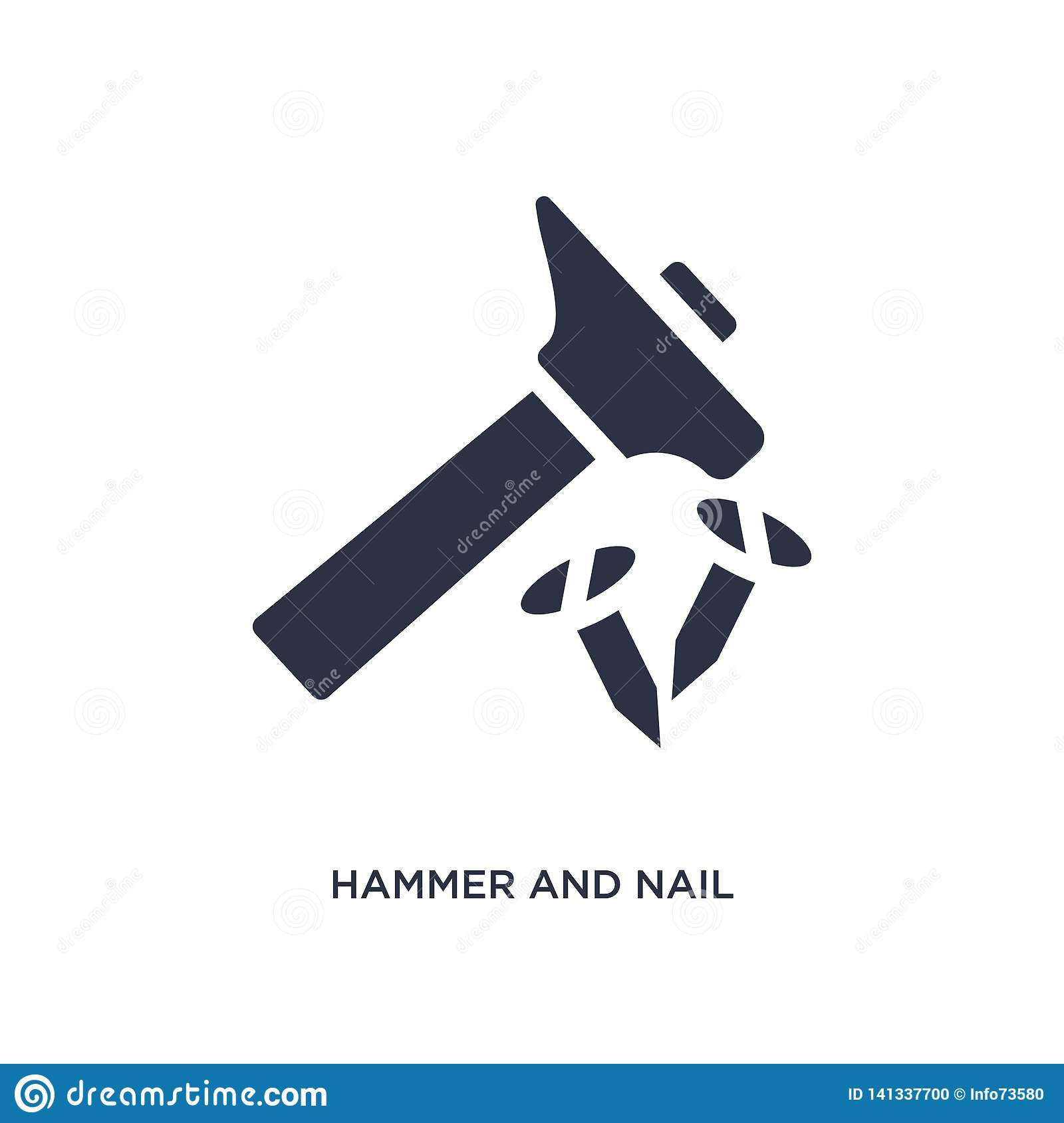 hammer and nail icon on white background. Simple element illustration from tools concept